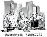 chefs in a restaurant kitchen... | Shutterstock .eps vector #710567272