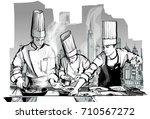 chefs in a restaurant kitchen...   Shutterstock .eps vector #710567272