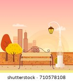 panorama on autumn city park.... | Shutterstock .eps vector #710578108