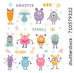 vector set of cute scary... | Shutterstock .eps vector #710579332