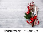 table fork and knife set with... | Shutterstock . vector #710584075