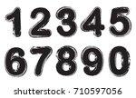 set of grunge numbers.vector... | Shutterstock .eps vector #710597056