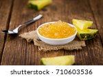 pineapple jam as high detailed... | Shutterstock . vector #710603536