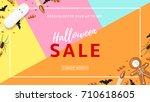 halloween sale web banner with... | Shutterstock .eps vector #710618605