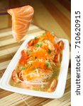 spicy salad salmon | Shutterstock . vector #710620915