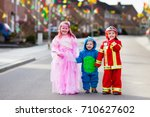 kids on halloween trick or... | Shutterstock . vector #710627602