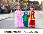 kids on halloween trick or...   Shutterstock . vector #710627602