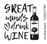 hand drawn bottle of wine and... | Shutterstock .eps vector #710627782