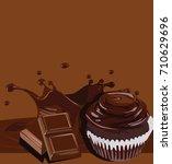 chocolate splash bar and...   Shutterstock .eps vector #710629696