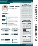 resume and cv vector template... | Shutterstock .eps vector #710630992