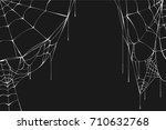 white spiderweb on black... | Shutterstock .eps vector #710632768