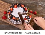 making of sponge cake with... | Shutterstock . vector #710633536