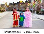 kids on halloween trick or... | Shutterstock . vector #710636032