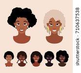 cute cartoon black girls with... | Shutterstock .eps vector #710637538