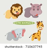 cute animals | Shutterstock .eps vector #710637745
