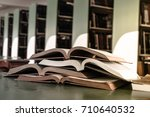 Open Book On Wood Desk In The...