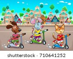 funny pets are riding... | Shutterstock .eps vector #710641252
