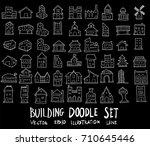 doodle sketch type of building... | Shutterstock .eps vector #710645446