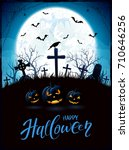 halloween background with... | Shutterstock .eps vector #710646256