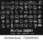 weather doodles sketch vector... | Shutterstock .eps vector #710649202