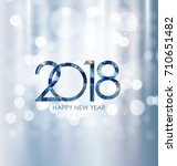 2018 new year gold glossy... | Shutterstock . vector #710651482
