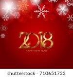 2018 new year gold glossy... | Shutterstock . vector #710651722