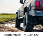 off road car is riding on a... | Shutterstock . vector #710654122
