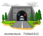 police car in the tunnel... | Shutterstock .eps vector #710662312