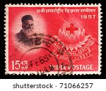 Постер, плакат: old stamp shows the
