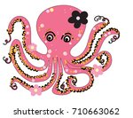 pink octopus cartoon black... | Shutterstock .eps vector #710663062