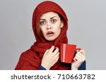 the woman wrapped herself in a...   Shutterstock . vector #710663782