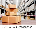 stack of cardboard boxes on... | Shutterstock . vector #710688565