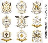heraldic vector signs decorated ... | Shutterstock .eps vector #710692672