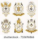 set of luxury heraldic vector...   Shutterstock .eps vector #710696866