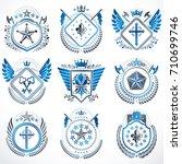 heraldic emblems with wings... | Shutterstock .eps vector #710699746