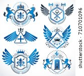 collection of vector heraldic... | Shutterstock .eps vector #710701096