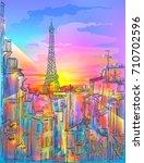 romantic sunrise dawn in paris. ... | Shutterstock .eps vector #710702596