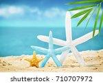 starfish on the summer beach... | Shutterstock . vector #710707972