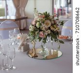 wedding decor. flowers in the... | Shutterstock . vector #710708662