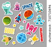 set of stickers with space... | Shutterstock .eps vector #710710696