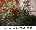 christmas fir tree the design... | Shutterstock . vector #710710852