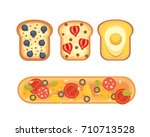 set toasts and sandwich... | Shutterstock . vector #710713528
