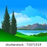 beautiful riverside  pine trees   Shutterstock .eps vector #71071519