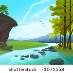 fresh water stream in hilly... | Shutterstock .eps vector #71071558