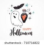 halloween party  hand drawn...   Shutterstock .eps vector #710716822