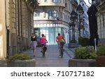 city morning  first walkers and ... | Shutterstock . vector #710717182