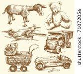 antique toys original hand... | Shutterstock .eps vector #71072056