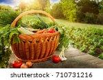 mixed organic vegetables in... | Shutterstock . vector #710731216