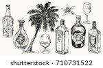set bottle for rum. vector hand ... | Shutterstock .eps vector #710731522