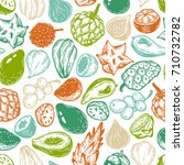 pattern with vector exotic... | Shutterstock .eps vector #710732782
